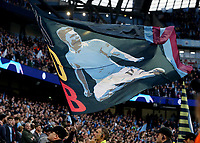 Manchester City fans display a Kevin De Bruyne banner ahead of kick-off<br /> <br /> Photographer Rich Linley/CameraSport<br /> <br /> UEFA Champions League - Quarter-finals 2nd Leg - Manchester City v Tottenham Hotspur - Wednesday April 17th 2019 - The Etihad - Manchester<br />  <br /> World Copyright © 2018 CameraSport. All rights reserved. 43 Linden Ave. Countesthorpe. Leicester. England. LE8 5PG - Tel: +44 (0) 116 277 4147 - admin@camerasport.com - www.camerasport.com