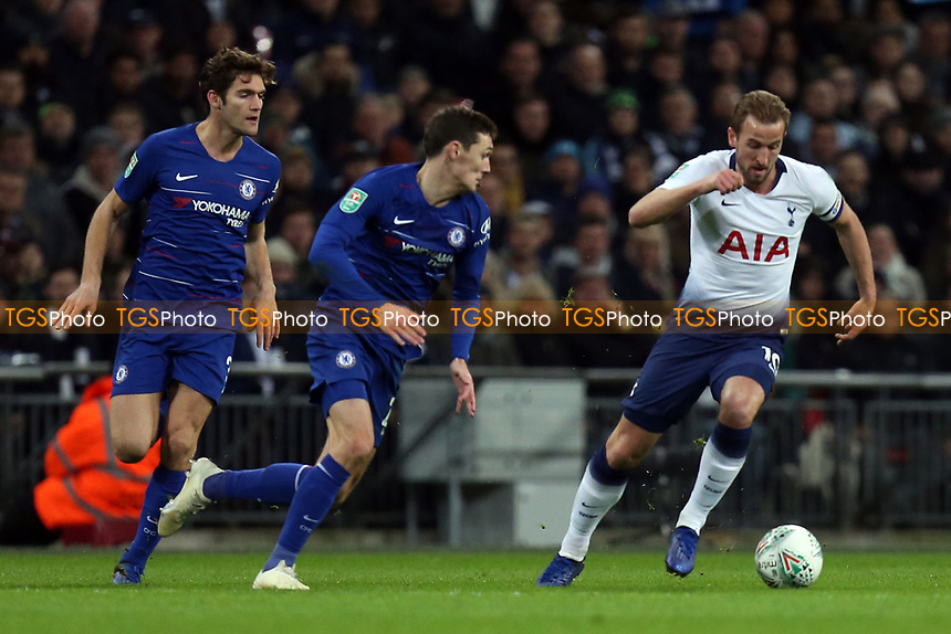 Harry Kane of Tottenham Hotspur and Marcos Alonso and Andreas Christensen of Chelsea during Tottenham Hotspur vs Chelsea, Caraboa Cup Football at Wembley Stadium on 8th January 2019