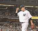 Masahiro Tanaka (Yankees),<br /> SEPTEMBER 8, 2015 - MLB :<br /> Masahiro Tanaka of the New York Yankees walks back to the dugout after the top of the seventh inning during the Major League Baseball game against the Baltimore Orioles at Yankee Stadium in the Bronx, New York, United States. (Photo by AFLO)