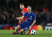 5th December 2017, Stamford Bridge, London, England; UEFA Champions League football, Chelsea versus Atletico Madrid; Lucas Hernandez of Atletico Madrid fouls Alvaro Morata of Chelsea