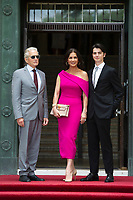 Michael Douglas, Catherine Zeta-Jones and Dylan Michael Douglas arrive at the Guildhall in Swansea, Wales, UK. Wednesday 24 July 2019<br /> Re: Catherine Zeta-Jones receives the honorary freedom of the City and County of Swansea during a ceremony at the Guildhall in Swansea, Wales, UK.