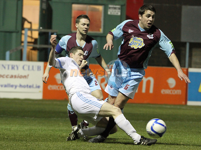 Drogs Brian Gannon (2) and John Kester (6) as Drogheda Utd V UCD in the Airtricity League. (result UCD 1 Drogheda Utd 0)..(Photo credit should read Jenny Matthews/www.newsfile.ie)....This Picture has been sent you under the conditions enclosed by:.Newsfile Ltd..The Studio,.Millmount Abbey,.Drogheda,.Co Meath..Ireland..Tel: +353(0)41-9871240.Fax: +353(0)41-9871260.GSM: +353(0)86-2500958.email: pictures@newsfile.ie.www.newsfile.ie.