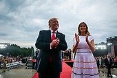 "U.S. President Donald Trump and first lady Melania Trump depart during the Fourth of July Celebration 'Salute to America' event in Washington, D.C., U.S., on Thursday, July 4, 2019. The White House said Trump's message won't be political -- Trump is calling the speech a ""Salute to America"" -- but it comes as the 2020 campaign is heating up. <br /> Credit: Al Drago / Pool via CNP"