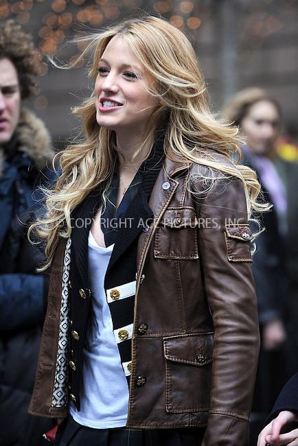 WWW.ACEPIXS.COM . . . . . ....April 7 2008, New York City....Actress Blake Lively on the set of the new TV show 'Gossip Girl' on 5th Avenue in midtown Manhattan.....Please byline: KRISTIN CALLAHAN - ACEPIXS.COM.. . . . . . ..Ace Pictures, Inc:  ..(646) 769 0430..e-mail: info@acepixs.com..web: http://www.acepixs.com