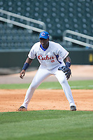 Rudy Reyes Erise (10) of the Cuban National Team takes infield practice prior to the game against the US Collegiate National Team at BB&T BallPark on July 4, 2015 in Charlotte, North Carolina.  The United State Collegiate National Team defeated the Cuban National Team 11-1.  (Brian Westerholt/Four Seam Images)