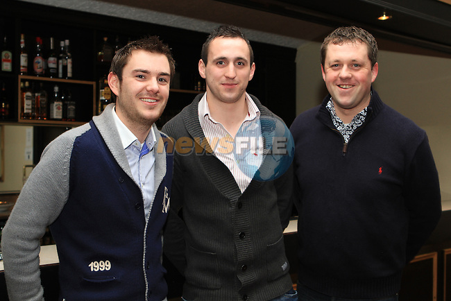 Mark Eagleton, Manager Graham Reilly and Thomas Byrne at the St. Colmcilles Presentation Night in the Boyne Valley Hotel...(Photo credit should read Jenny Matthews www.newsfile.ie)....