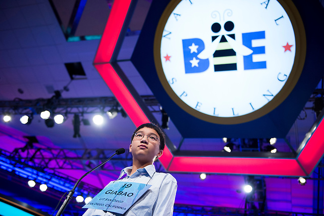 Speller No. 019, Giabao Tonthat, 13, eighth grader at Heritage K-8 Charter School, Escondido, California, competes in the preliminary rounds of the Scripps National Spelling Bee at the Gaylord National Resort and Convention Center in National Habor, Md., on Wednesday, May 29, 2013. Photo by Bill Clark