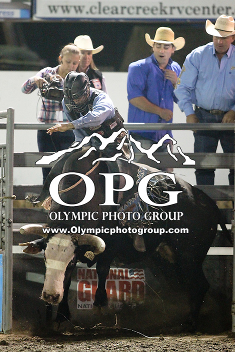 20 Aug 2014:  Dalton James Votaw scored a 82 in the first round of competition in the Seminole Hard Rock Extreme Bulls competition at the Kitsap County Stampede in Bremerton, Washington.