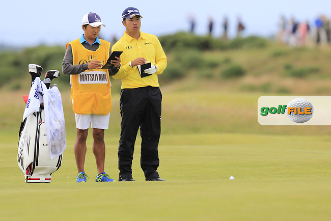 Hideki Matsuyana (JPN) on the 14th hole during Sunday's Round 3 of the 144th Open Championship, St Andrews Old Course, St Andrews, Fife, Scotland. 19/07/2015.<br /> Picture Eoin Clarke, www.golffile.ie