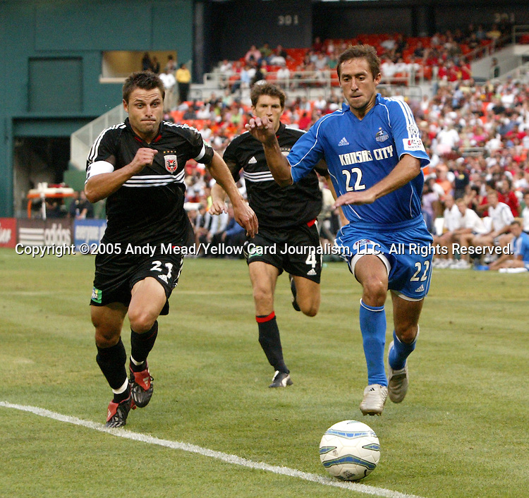 9 July 2005: Dema Kovalenko (21) and Davy Arnaud (22) challenge for the ball. The Kansas City Wizards defeated DC United 1-0 at RFK Stadium in Washington, DC in a regular season Major League Soccer game. .