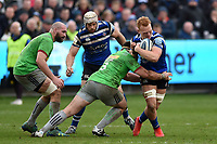 Miles Reid of Bath Rugby takes on the Harlequins defence. Gallagher Premiership match, between Bath Rugby and Harlequins on March 2, 2019 at the Recreation Ground in Bath, England. Photo by: Patrick Khachfe / Onside Images