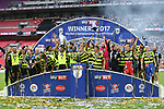 Huddersfield's players celebrate promotion during during the Championship Play-Off Final match at Wembley Stadium, London. Picture date: May 29th, 2017. Pic credit should read: David Klein/Sportimage