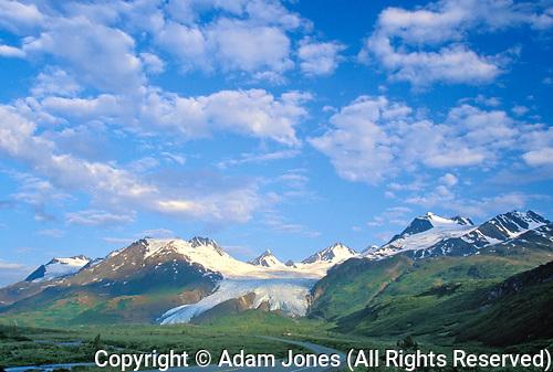 Richardson Highway and Worthington Glacier, Thompson Pass, near Valdez, Alaska....Richardson Highway and Worthington Glacier, Thompson Pass, near Valdez, Alaska...
