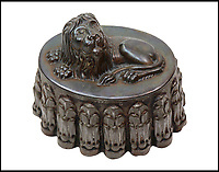 BNPs.co.uk (01202 558833)<br /> Pic: Bellmans/BNPS<br /> <br /> A Victorian tinplate lion jelly mould.<br /> <br /> Jelly on a slate... an enormous collection of over 400 jelly moulds has emerged from the estate of a fanatical collector. <br /> <br /> Eccentric Andrew Cottrell dedicated his life to amassing an incredible 430 moulds, which he crammed into a specially dedicated room in his house. <br /> <br /> Accumulated throughout his life until his death at the age of 60 in 2015, the selection spans 100 years from the mid 19th century. <br /> <br /> Mr Cottrell's collection, worth an estimated &pound;30,000, will be sold by his four sons through Hampshire-based auctioneer Bellmans on July 12.