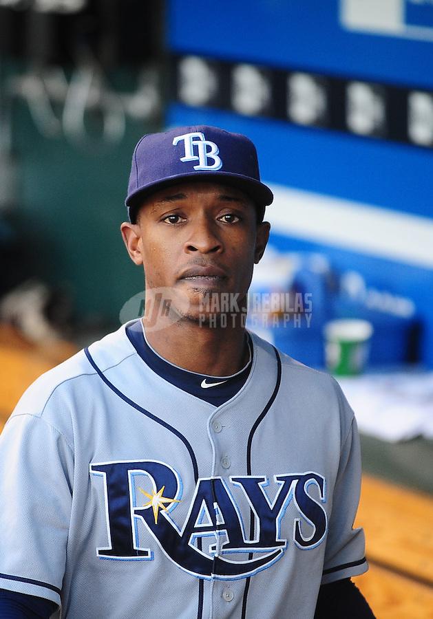 Oct. 2, 2010; Kansas City, MO, USA; Tampa Bay Rays outfielder B.J. Upton against the Kansas City Royals at Kauffman Stadium. Mandatory Credit: Mark J. Rebilas-