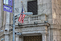 A view at the corner of New and Wall Street at the New York Stock Exchange.