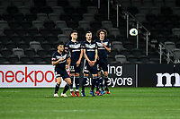 29th July 2020; Bankwest Stadium, Parramatta, New South Wales, Australia; A League Football, Melbourne Victory versus Brisbane Roar; the Victory wall defends a free kick on the edge of the area