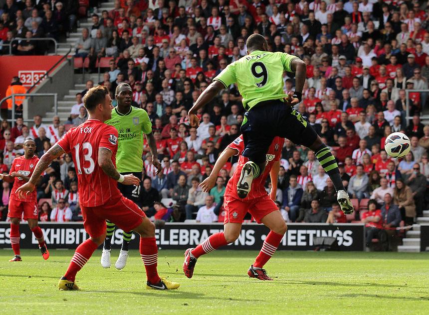 Aston Villa's Darren Bent scores the opening goal...Football - Barclays Premiership - Southampton v Aston Villa - Saturday 22nd September 2012 - St Mary's Stadium - Southampton..