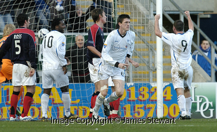 03/02/2007       Copyright Pic: James Stewart.File Name : sct_jspa03_falkirk_v_st_johnstone.KEVIN JAMES CELEBRATES AFTER HE SCORES ST JOHNSTONE'S SECOND.....James Stewart Photo Agency 19 Carronlea Drive, Falkirk. FK2 8DN      Vat Reg No. 607 6932 25.Office     : +44 (0)1324 570906     .Mobile   : +44 (0)7721 416997.Fax         : +44 (0)1324 570906.E-mail  :  jim@jspa.co.uk.If you require further information then contact Jim Stewart on any of the numbers above.........