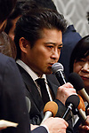 Tatsuya Yamaguchi member of the all-male pop group Tokio answers questions to members of the press during a news conference on April 26, 2018, Tokyo, Japan. Yamaguchi apologized and expressed his deep regret for forcibly kissing a female high school student under alcohol influence. (Photo by Rodrigo Reyes Marin/AFLO)