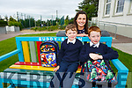 Hey Buddy: Darragh Flaherty and Ciaran Clifford with Principal Catherine Ní Mhuircheartaigh on the Buddy bench making friends on their first day of school in Fybough NS Castlemaine on Tuesday