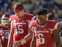 NWA Democrat-Gazette/BEN GOFF @NWABENGOFF<br /> Cole Kelley (15), Arkansas quarterback, and T.J. Hammonds, Arkansas running back, walk to the locker room after Arkansas fell to LSU Saturday, Nov. 11, 2017 at Tiger Stadium in Baton Rouge, La.