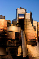 Full moon over the Frederick R. Weisman Art Museum at the University of Minnesota. A stainless steel and brick building designed by architect Frank Gehry, the Weisman Art Museum offers an educational and friendly museum experience.