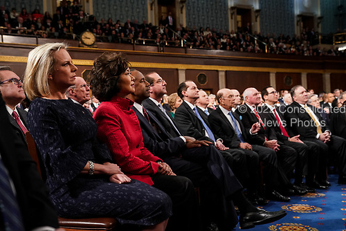FEBRUARY 5, 2019 - WASHINGTON, DC: Members of the cabinet from left: Kirstjen Nielsen, Elaine Chao, Ben Carson, Alex Azar, Alex Acosta, Wilbur Ross, Sonny Perdue, Steven Mnuchin and Mike Pompeo during the State of the Union address at the Capitol in Washington, DC on February 5, 2019. <br /> Credit: Doug Mills / Pool, via CNP
