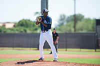 San Diego Padres relief pitcher Dauris Valdez (93) gets ready to deliver a pitch during an Instructional League game against the Milwaukee Brewers at Peoria Sports Complex on September 21, 2018 in Peoria, Arizona. (Zachary Lucy/Four Seam Images)