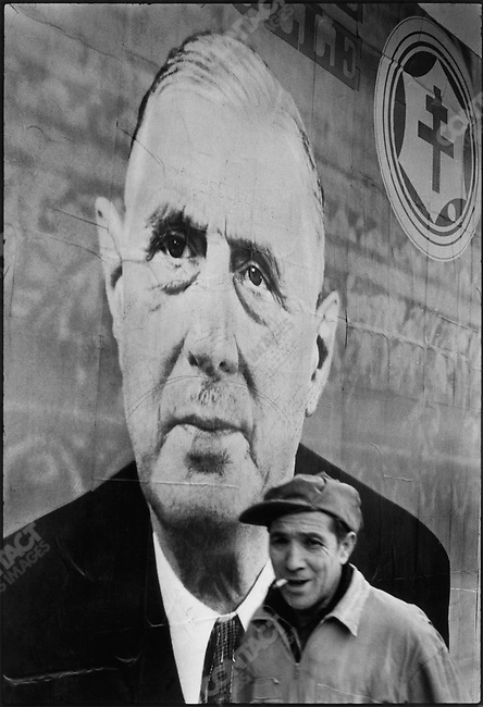 General Elections, poster of Charles de Gaulle, Pigalle, Paris, France, February 13, 1967