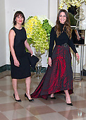 Singer Sara Bareilles, right, and Jennifer Bareilles arrive for the State Dinner in honor of Prime Minister Trudeau and Mrs. Sophie Gr&eacute;goire Trudeau of Canada at the White House in Washington, DC on Thursday, March 10, 2016.<br /> Credit: Ron Sachs / Pool via CNP