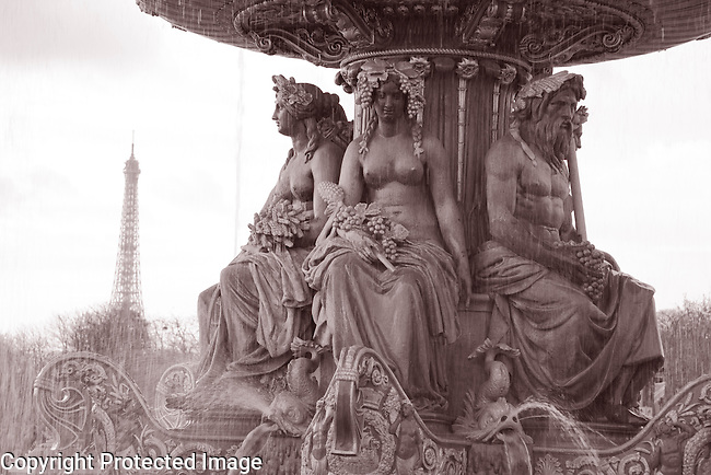 Place de la Concorde and Eiffel Tower in Black and White Sepia Tone in Paris, France