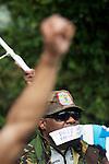 Foto: Gerrit de Heus. Den Haag. 02-04-14. Ongeveer twintig mensen demonstreerden bij de Indonesische ambassade voor vrijlating van politieke gevangenen in West-Papoea. Een land dat door Indonesië is geannexeerd. De Haagse Ottis Wawar (R) demonstreert mee. Hij is de zoon van de bekende vrijheidsstrijder Jimmy Wawar.