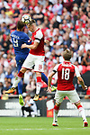 Rob Holding of Arsenal and Alvaro Morata of Chelsea during the The FA Community Shield match at Wembley Stadium, London. Picture date 6th August 2017. Picture credit should read: Charlie Forgham-Bailey/Sportimage