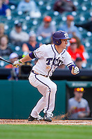 Cody Jones #1 of the Texas Christian Horned Frogs follows through on his swing against the Sam Houston State Bearkats at Minute Maid Park on February 28, 2014 in Houston, Texas.  The Bearkats defeated the Horned Frogs 9-4.  (Brian Westerholt/Four Seam Images)
