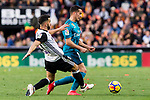 Lucas Vazquez of Real Madrid (R) fights for the ball with Martin Montoya Torralbo of Valencia CF (L) during the La Liga 2017-18 match between Valencia CF and Real Madrid at Estadio de Mestalla  on 27 January 2018 in Valencia, Spain. Photo by Maria Jose Segovia Carmona / Power Sport Images