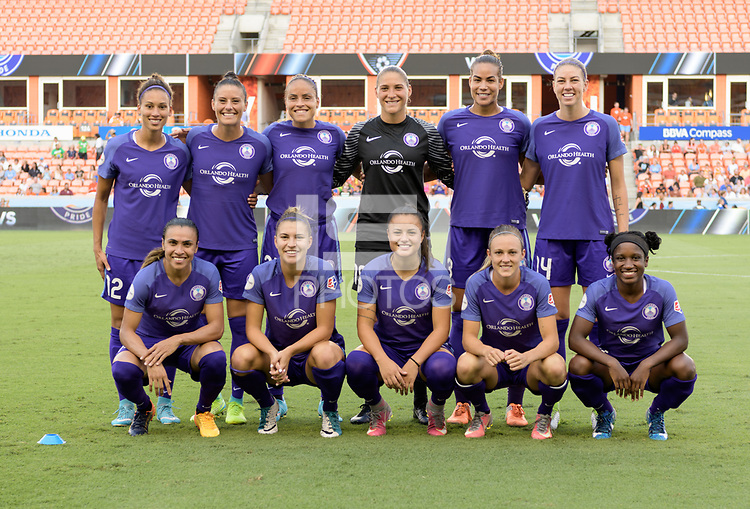 Houston, TX - Saturday June 17, 2017: Orlando Pride pose for a team photo during a regular season National Women's Soccer League (NWSL) match between the Houston Dash and the Orlando Pride at BBVA Compass Stadium.