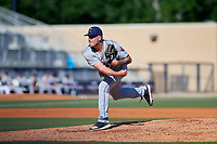 Jacksonville Jumbo Shrimp relief pitcher Marcus Crescentini (37) delivers a pitch during a game against the Biloxi Shuckers on May 6, 2018 at MGM Park in Biloxi, Mississippi.  Biloxi defeated Jacksonville 6-5.  (Mike Janes/Four Seam Images)