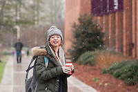 Snow flurries - students walking on Drill Field sidewalks<br />  (photo by Megan Bean / &copy; Mississippi State University)