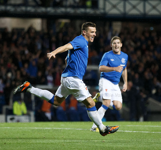 Lee McCulloch celebrates his goal for Rangers against SPL high flyers Motherwell
