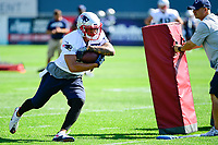 July 28, 2017: New England Patriots running back D.J. Foster (27) does a drill at the New England Patriots training camp held at Gillette Stadium, in Foxborough, Massachusetts. Eric Canha/CSM