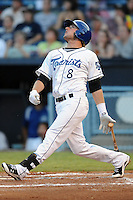 Asheville Tourists right fielder Kyle Parker #8 swings at a pitch during the second game of a double header against the Greensboro Grasshoppers at McCormick Field on July 26, 2011 in Asheville, North Carolina. Greensboro won the game 5-3.   (Tony Farlow/Four Seam Images)