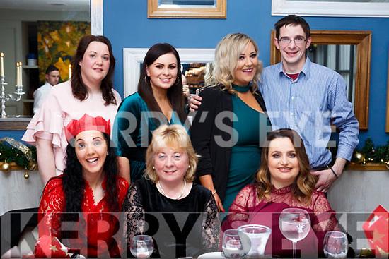 The Dunnes Stores checkout staff at the NCR store enjoying their Christmas party in Benners Hotel on Saturday night.<br /> Seated l-r, Michelle Roche, Bernie Coghlan, Roseanne O&rsquo;Dwyer, Marie Enright, Melissa Horan, Maura O&rsquo;Connor and Simon McCarthy.