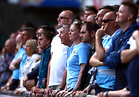 Manchester City fans look on nervously during the Barclays Premier League match between Swansea City and Manchester City played at The Liberty Stadium, Swansea on 15th May 2016