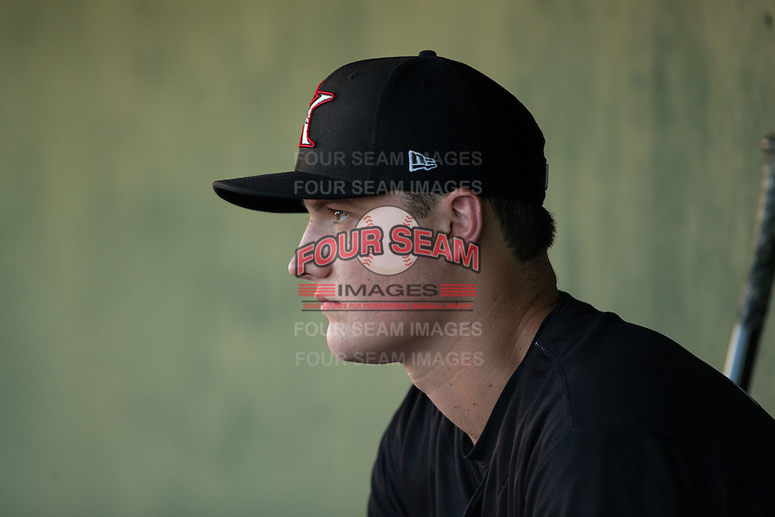 Kannapolis Intimidators starting pitcher Chris Comito (39) looks on from the dugout during the game against the Greenville Drive at Intimidators Stadium on June 8, 2016 in Kannapolis, North Carolina.  The Intimidators defeated the Drive 3-2.  (Brian Westerholt/Four Seam Images)