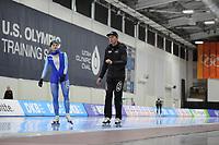 SPEEDSKATING: SALT LAKE CITY: 07-12-2017, Utah Olympic Oval, training ISU World Cup, Hege Bøkko (NOR), Jeremy Wotherspoon (trainer/coach), ©photo Martin de Jong