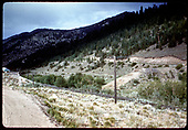 D&amp;RGW grade and track along Marshall Pass road.  Note the cut-off trestle pilings near the center, a remnant of Bridge 226-B, the connection to the Valley Line which was abandoned in 1951.  Marshall Pass persisted until 1955.<br /> D&amp;RGW  Mears Junction, CO  Taken by Dorman, Richard L. - ca. 1951-1955