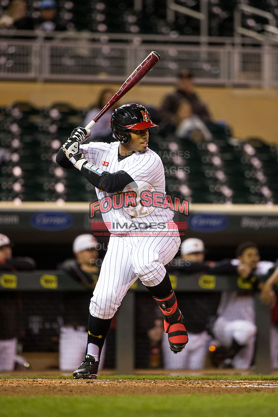 Kevin Martir (32) of the Maryland Terrapins bats during a 2015 Big Ten Conference Tournament game between the Maryland Terrapins and Michigan State Spartans at Target Field on May 20, 2015 in Minneapolis, Minnesota. (Brace Hemmelgarn/Four Seam Images)