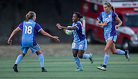 Seattle, WA - Saturday July 23, 2016: Maddy Evans, Jasmyne Spencer, Dani Weatherholt during a regular season National Women's Soccer League (NWSL) match between the Seattle Reign FC and the Orlando Pride at Memorial Stadium.