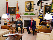 United States President Donald J. Trump, right, makes remarks to the press as he meets with His Royal Highness Prince Salman bin Hamad Al-Khalifa, Crown Prince, Deputy Supreme Commander, and First Deputy Prime Minister of the Kingdom of Bahrain, left, in the Oval Office of the White House. in Washington, DC on Monday, September 16, 2019.<br /> Credit: Chris Kleponis / Pool via CNP